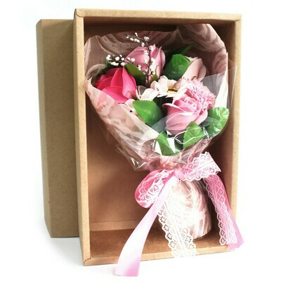 Boxed Hand Soap Flower Posy - Pink Flowers