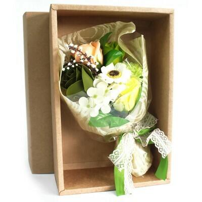 Boxed Hand Soap Flower Posy - Green shades