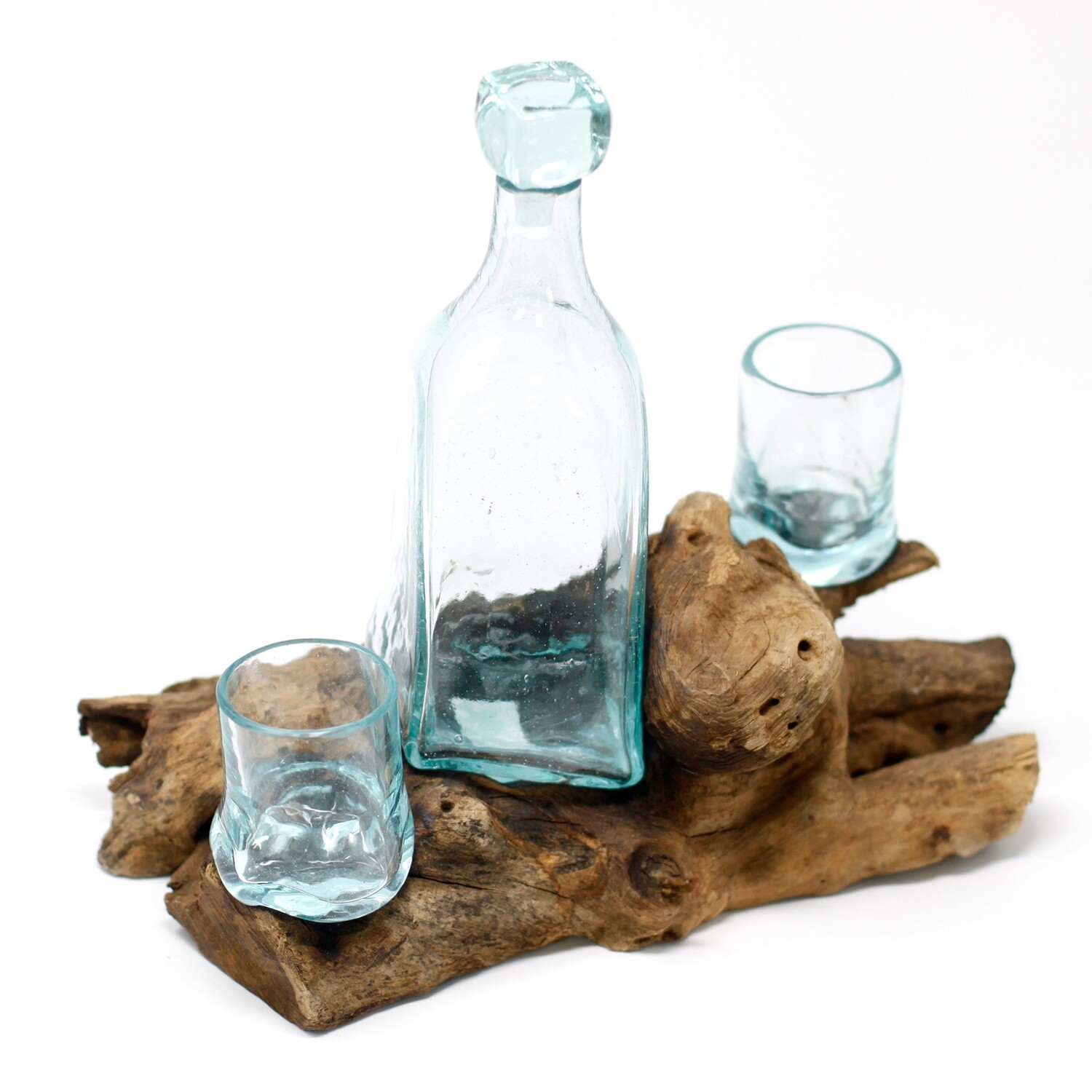 Molten Glass on Wood Whiskey Decanter & 2 Glasses
