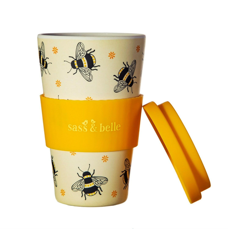 Sass & Belle BUSY BEE design Bamboo Insulated Coffee Mug