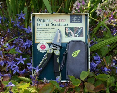 Folding Secateurs in a pouch - Green & Grey