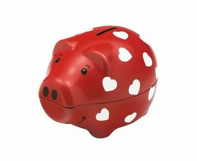 Heart Design Red Piggy Bank