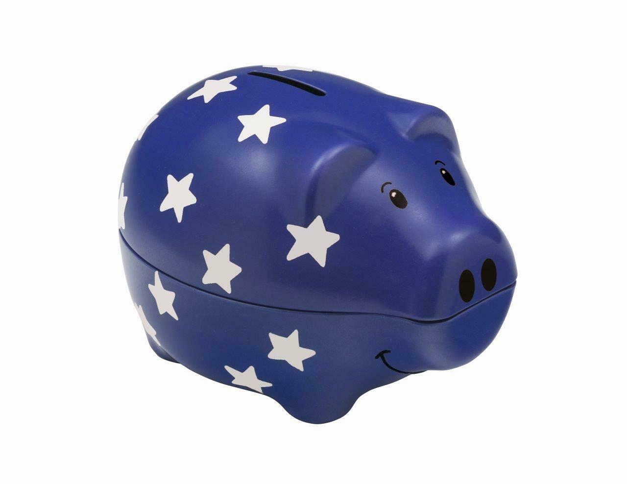 Star Design Blue Piggy Bank