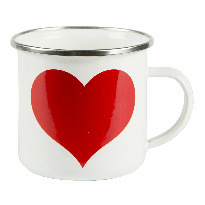 Red Heart on White Enamel Mug.
