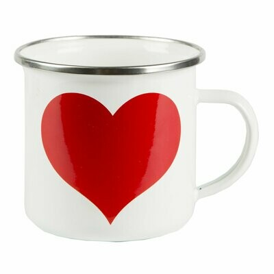 Red Heart on White Enamel Mug.