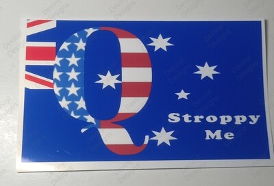 Q and Stroppy Me car stickers