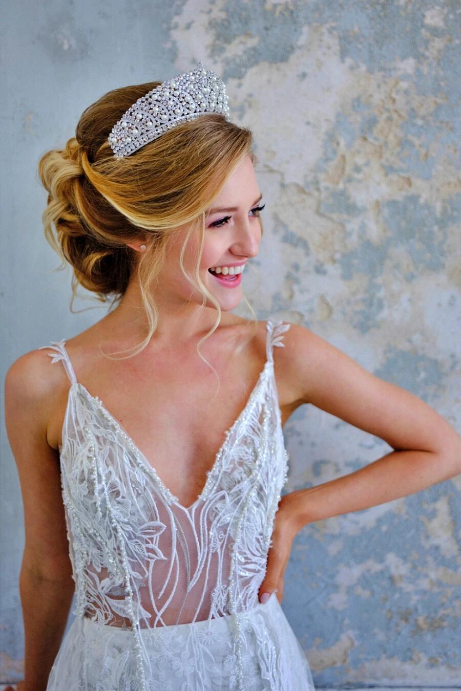 ALINE Swarovski & Pearls Bridal Crown