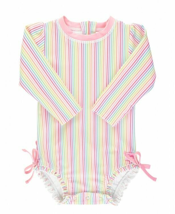 Ruffle Butts Baby Rainbow Stripe Swimsuit