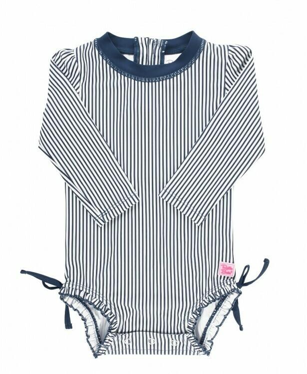 Ruffle Butts Baby Navy Stripe Swimsuit