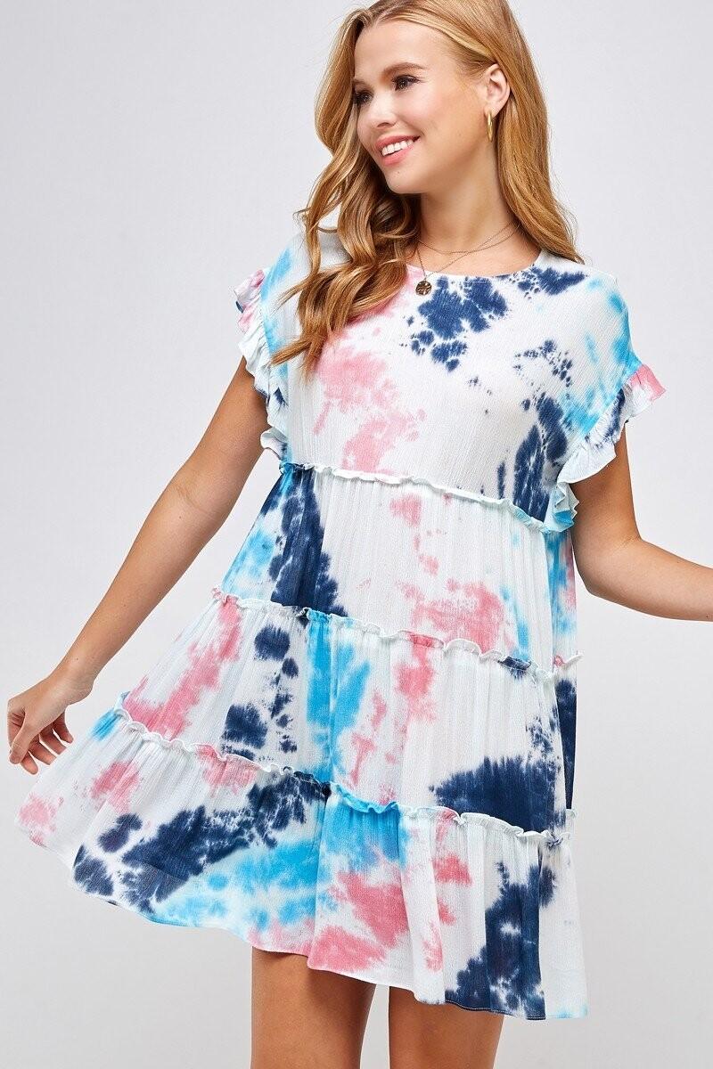 Tie Dye Ruffled Dress