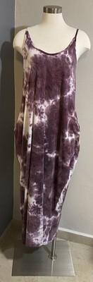 Burgundy Tye Dye Dress