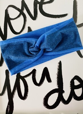 Blue stripe twist headband