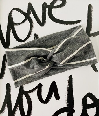 Grey and white stripe twist headband
