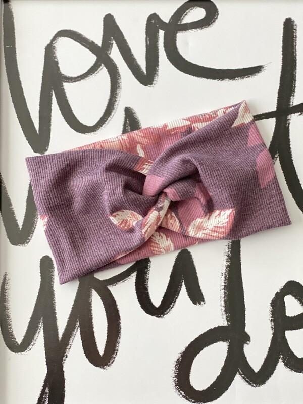 Plum floral twist headband