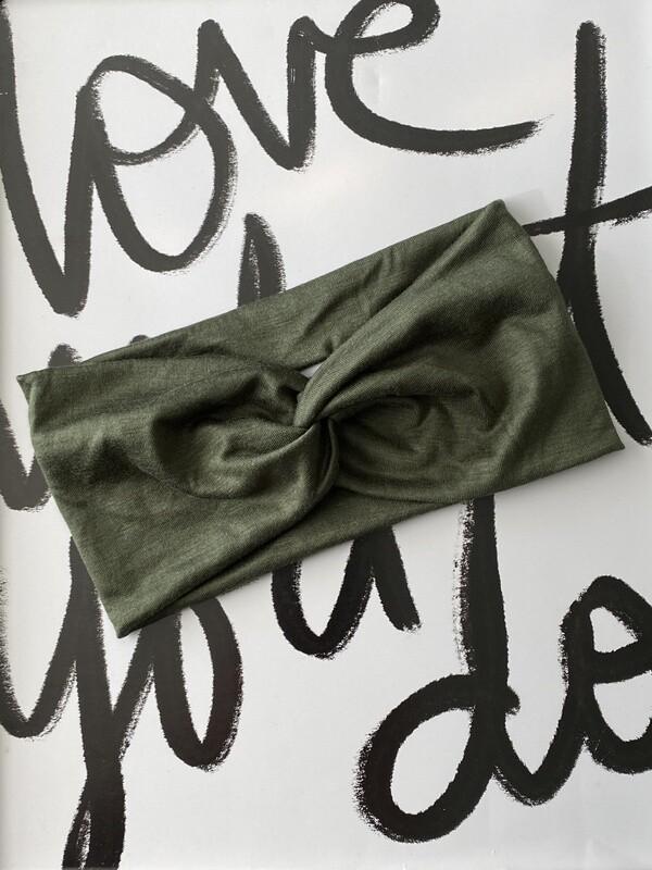 Olive green twist headband