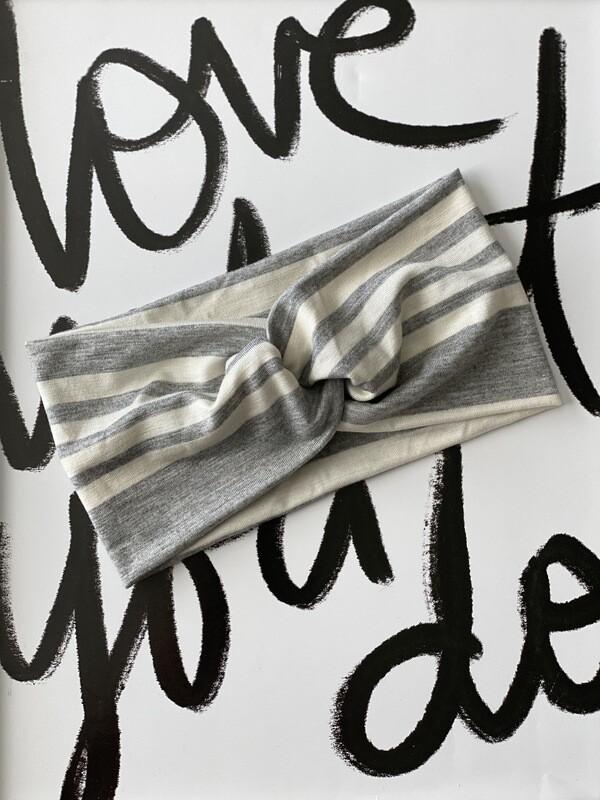 Heather grey and white stripe twist headband
