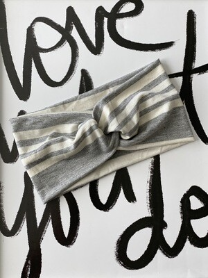Heather grey and white stripe twist headband