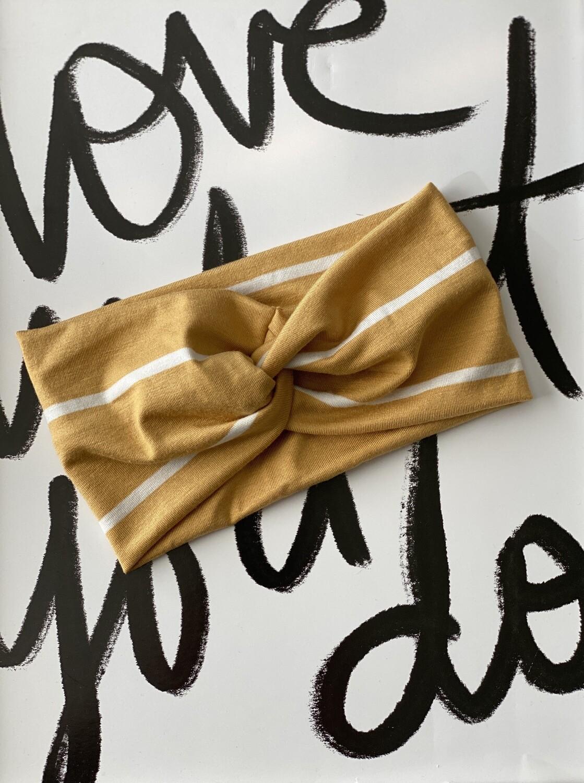 Mustard stripe twist headband