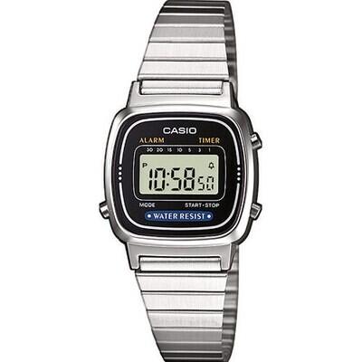 Casio LA670WEA-1EF Donna 24,5mm Acciaio/Silver Acciaio Nero Silver Digitale 3ATM