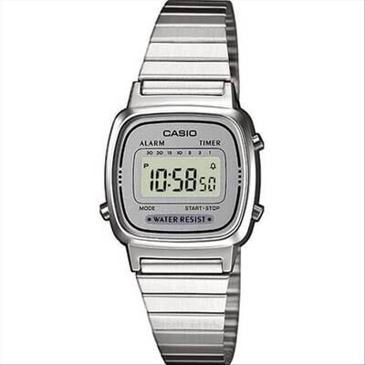 Casio LA670WEA-7EF Donna 24,5mm Acciaio/Silver Acciaio Grigio Silver Digitale 3ATM