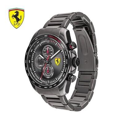 Ferrari FER0830653 Uomo 44mm Acciaio Brunito Acciaio Nero Brunito Quarzo Cronografo