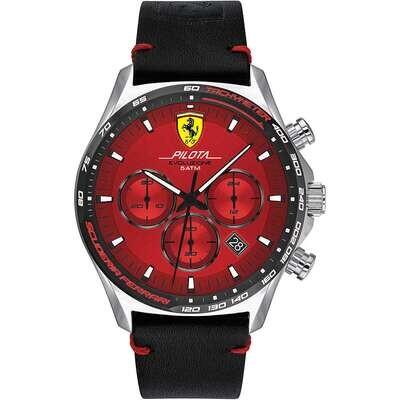 Ferrari FER0830713 Uomo 44mm Acciaio/Silver Pelle Rosso Nero Cronografo 5ATM