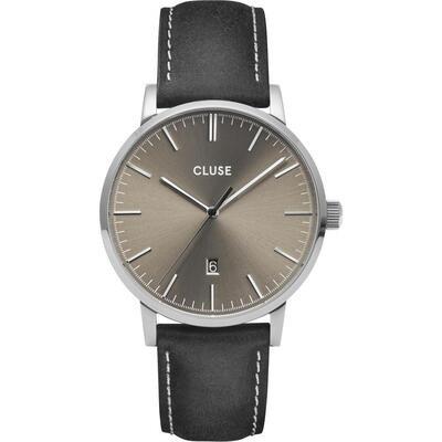 Cluse CG1519501001 Uomo 40mm Acciaio/Silver Pelle Grigio Sabbiato Nero Quarzo Solo Tempo 5ATM