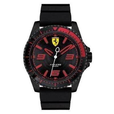 Ferrari FER0830465 Uomo 44mm Acciaio Nero Silicone Nero Nero Quarzo Solo Tempo 5ATM