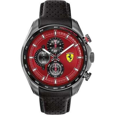 Ferrari FER0830650 Uomo 47,60mm Acciaio Nero Chiaro Pelle Rosso Nero Quarzo Cronografo 5ATM