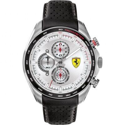 Ferrari FER0830651 Uomo 47mm Acciaio Silver Pelle Silver Nero Quarzo Cronografo 5ATM