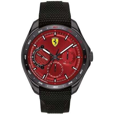Ferrari FER0830682 Uomo 47,60 Acciaio Nero Silicone Rosso Nero Quarzo Multifunzione 5ATM