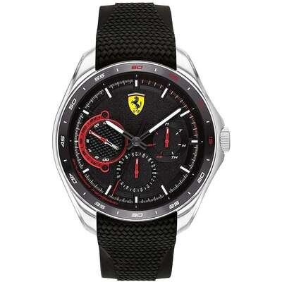 Ferrari FER0830683 Uomo 47,60mm Acciaio Silver Silicone Nero Nero Multifunzione 5ATM