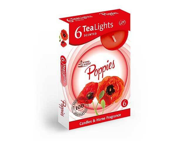 T-LIGHT 6pz POPPIES