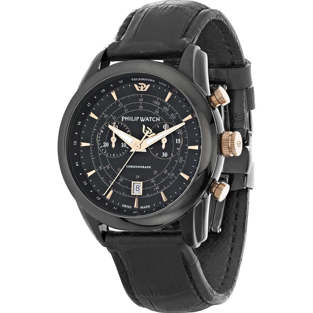 PHILIP WATCH R8271996004 Uomo 44mm Acciaio Pelle Nero Nero Quarzo Cronografo 10ATM