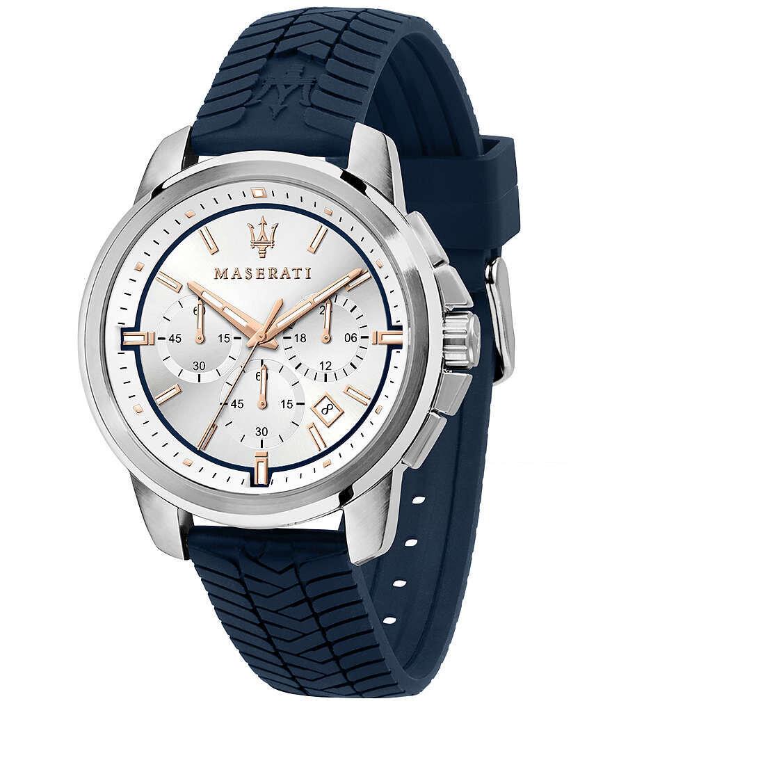 Maserati R8871621013 C Uomo 44mm Acciaio Silver Silicone Silver Blu Quarzo Cronografo 5ATM