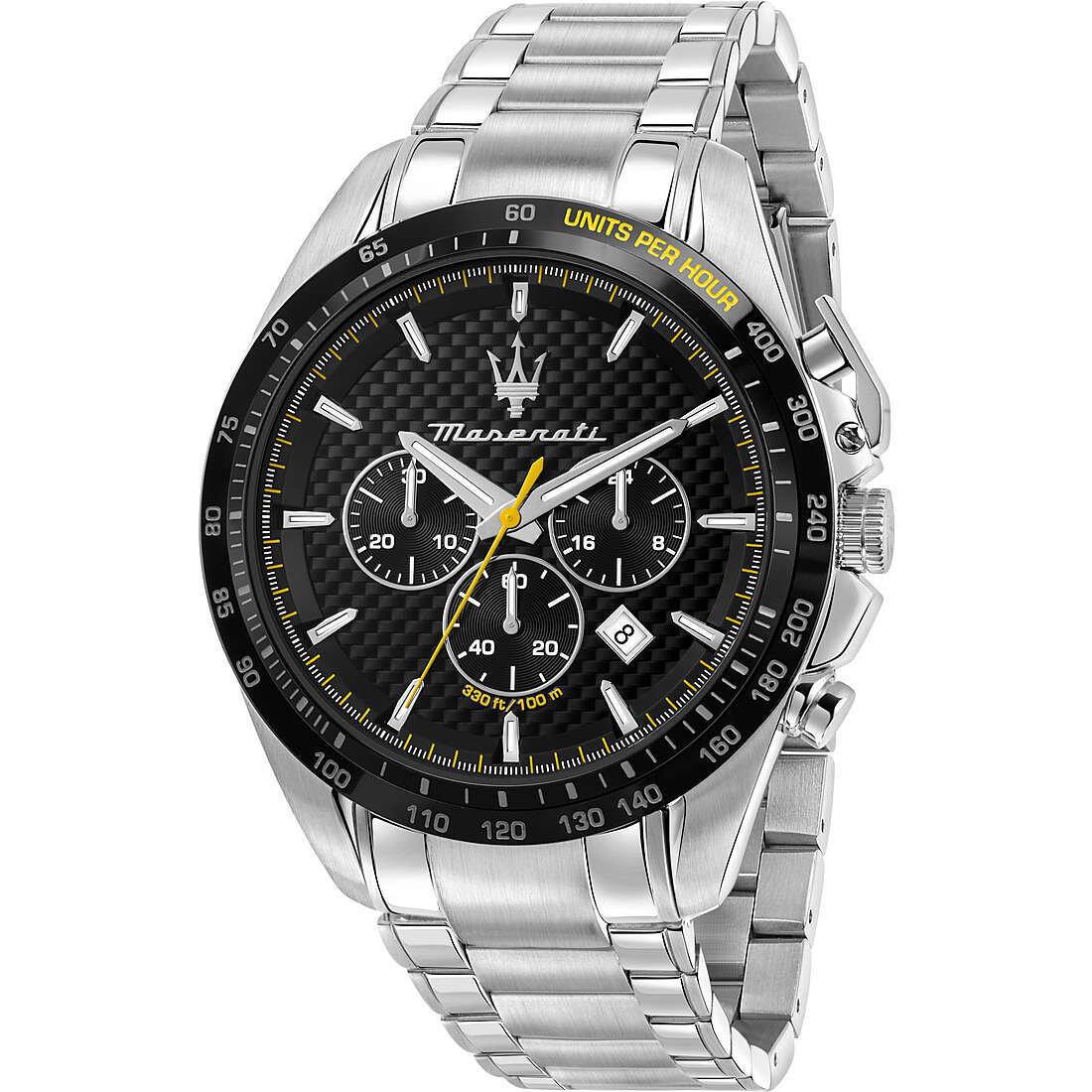 MASERATI R8873612042 Uomo 45mm Acciaio Acciaio Nero Silver Quarzo Cronografo 10ATM