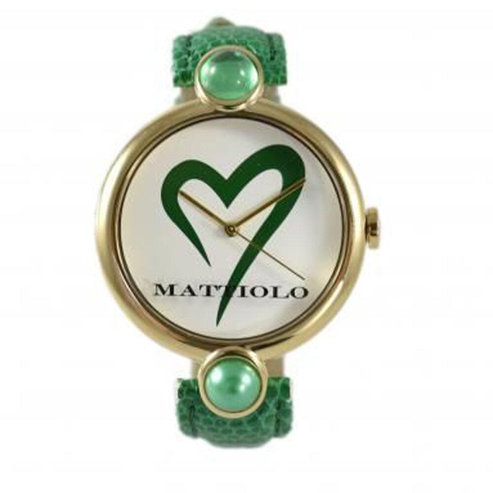 Mattiolo DAH824 Donna 39mm Acciaio/Oro Pelle Bianco Verde Quarzo/Solo Tempo