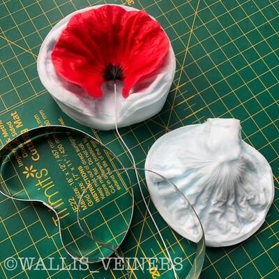 RED POPPY Flower Veiner + Cutter ( Optional )