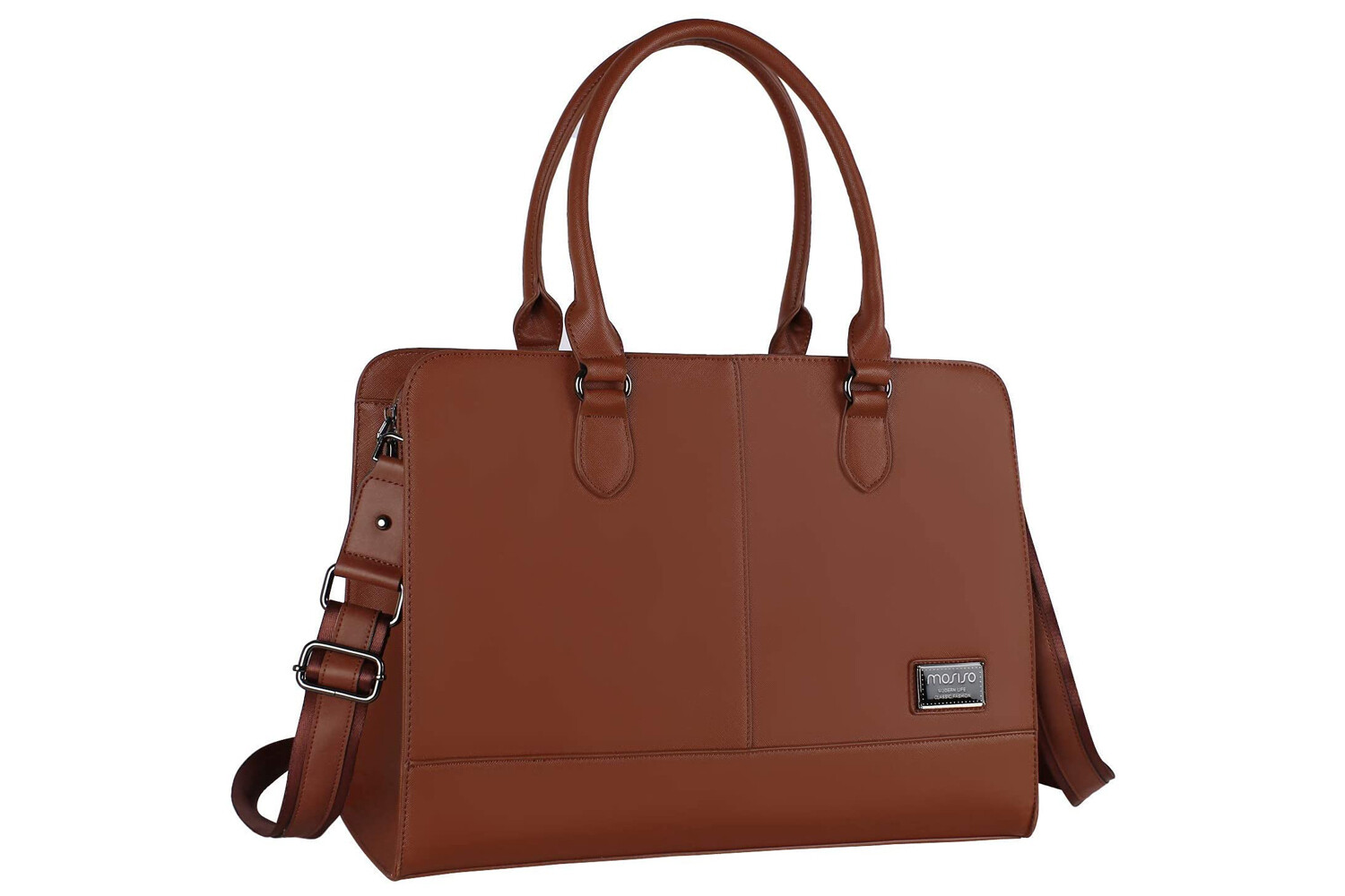MOSISO Women Laptop Tote Bag (Up to 15.6 Inch) 3 Layer Compartments, Brown