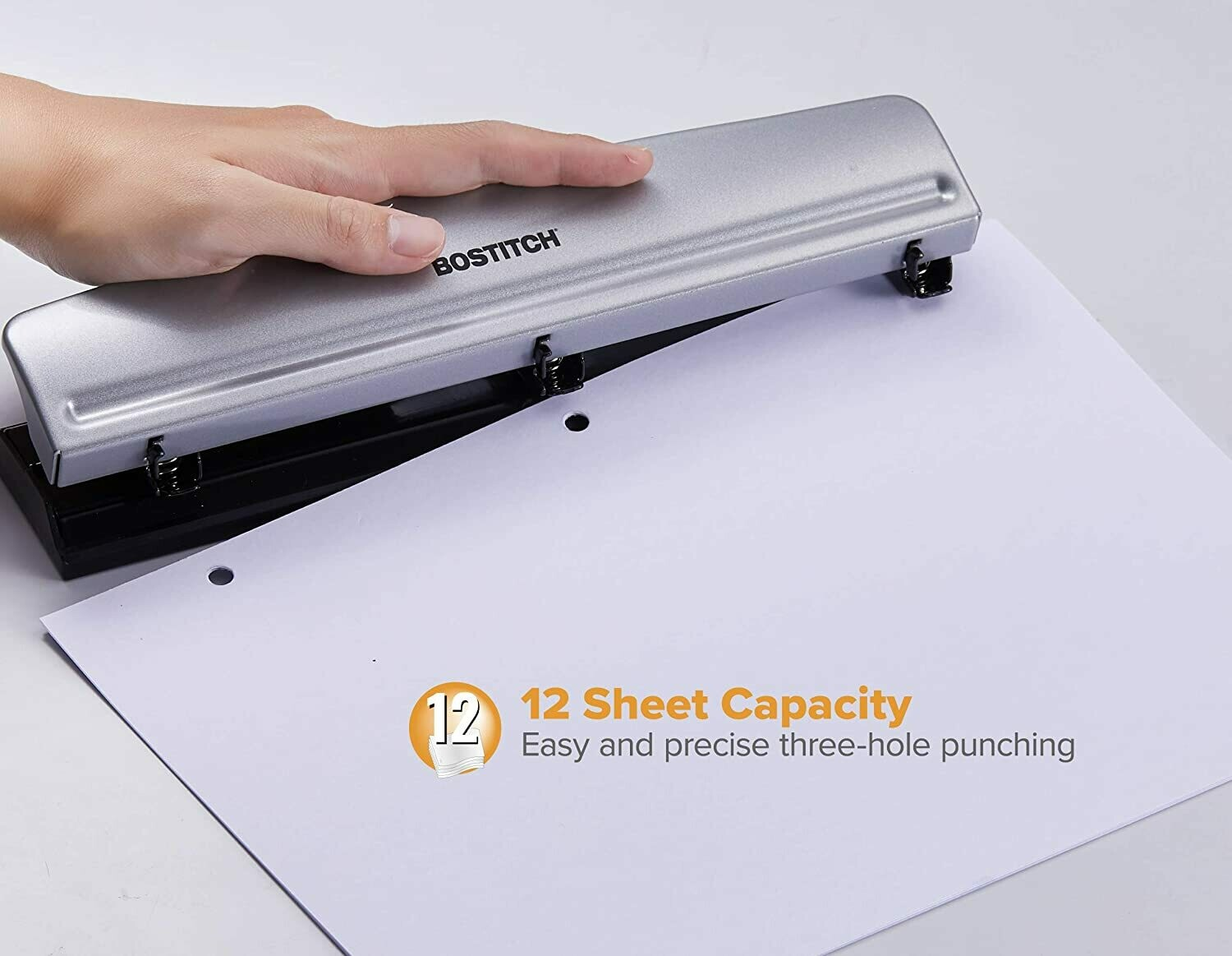 Bostitch Office HP12 3 Hole Punch, 12 Sheet Capacity, Metal, Silver