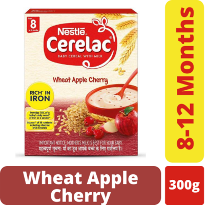 Nestle Cerelac Wheat Apple Cherry 8 to 12 months 300gm