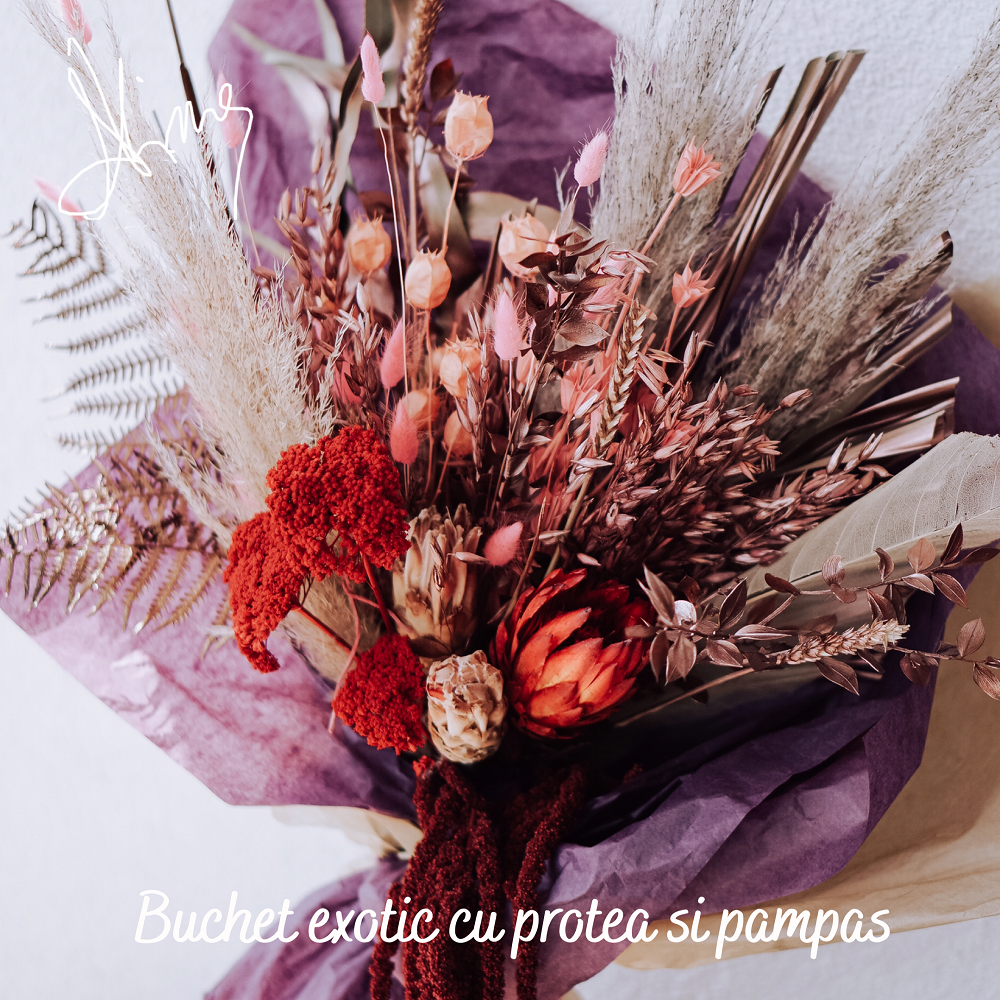 Buchet exotic cu Protea si flori stabilizate
