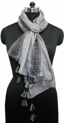 solid plain color large scarf with a jacquard border