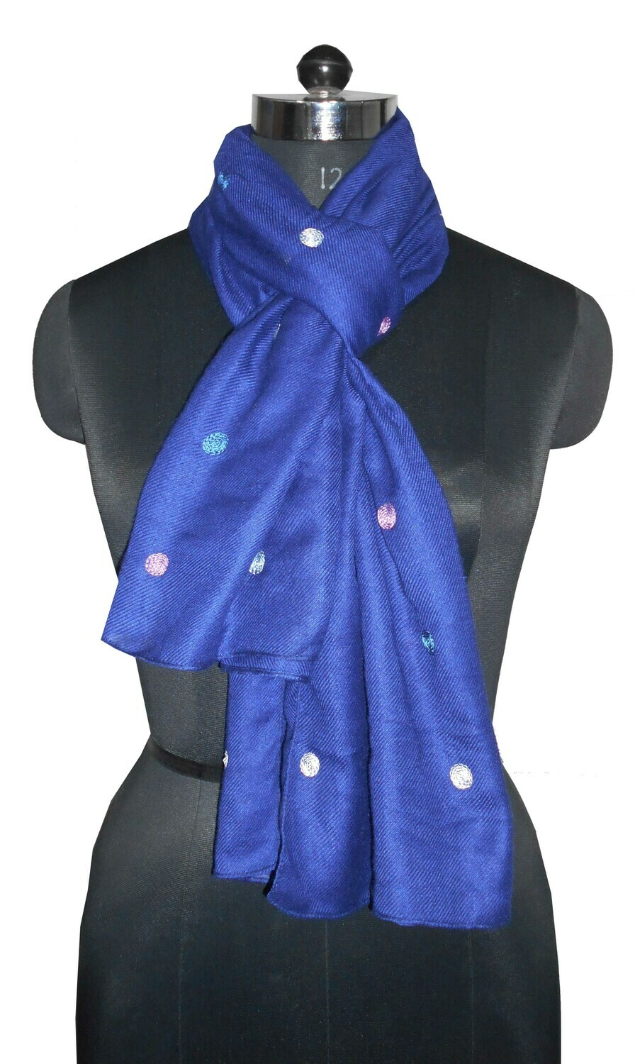 poly wool feel embroidered scarf