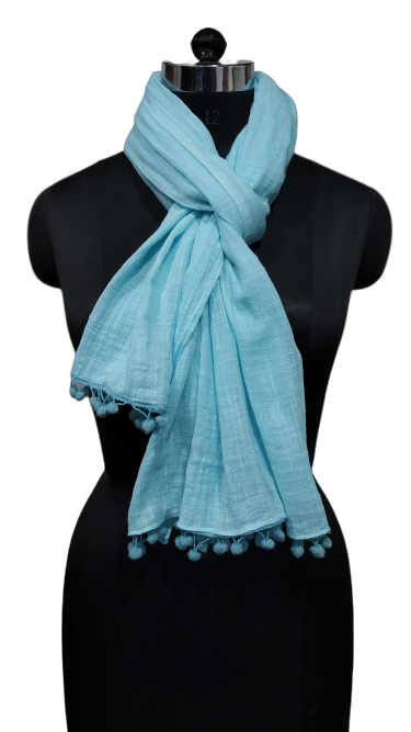 solid dyed slub design large scarf with lace