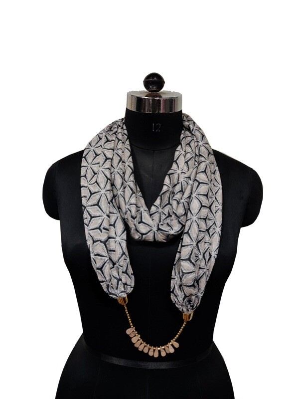scarves adorned with jewellery