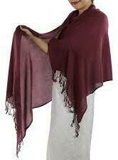 PLain Pashmina Shawl with fringes.