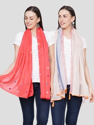 Embroidered & Printed Large Scarves in Combo offer