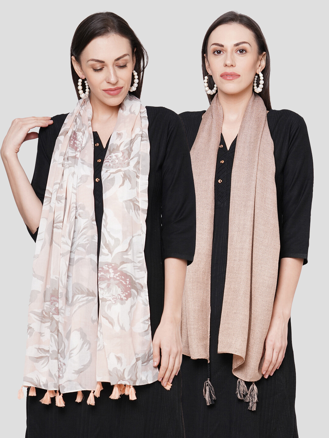 Printed & Self Design Large Scarves in Combo offer