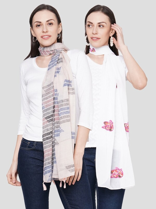 Printed & Embroidered Scarves in Combo offer